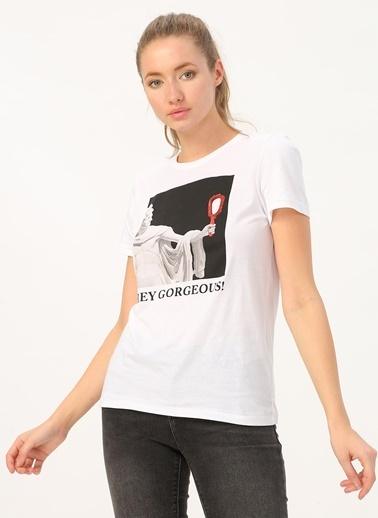 Only Only Baskılı Beyaz T-Shirt Beyaz